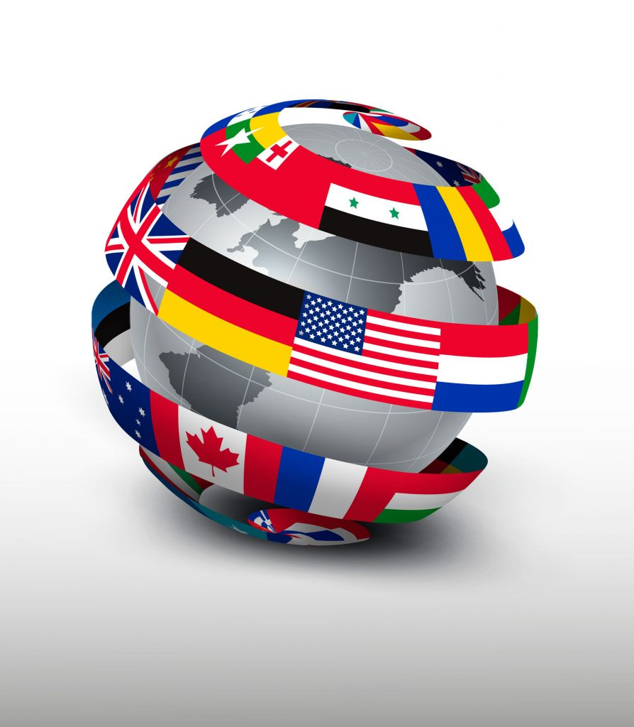 globe encircled with country flags